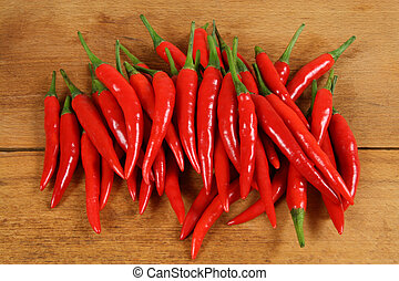 Red chilli peppers. - Red hot chilli peppers on the chopping...