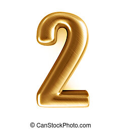 golden number - 2 - 3d rendered illustration of an isolated...