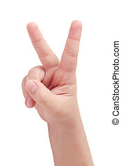 Peace sign - Child's hand displaying peace sign on white...