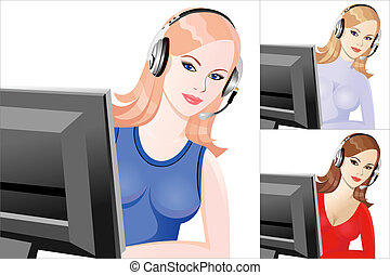 vector set young beautiful girl telephone operator