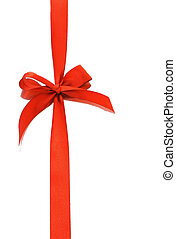 Red decorative bow ribbon with relection on white background...