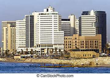 Tel-Aviv cityscape showing the financial district - business...