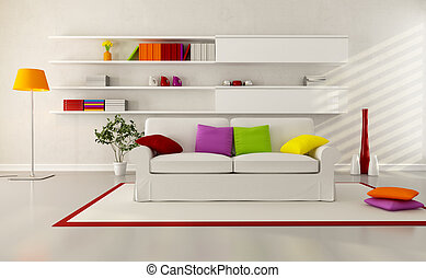 bright modern living room - white elegant couch in a modern...