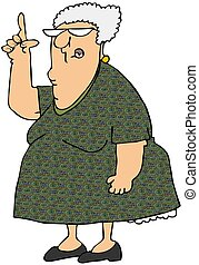 Old Woman Pointing Up - This illustration depicts an old...