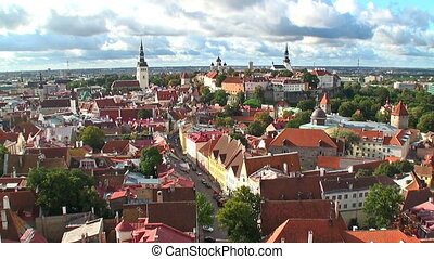 Zoom aerial panorama of Tallinn