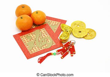Chinese New Year ornaments, oranges and red packets