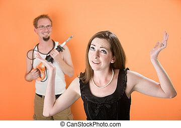 Handyman Hell - Frustrated young woman and handy husband...
