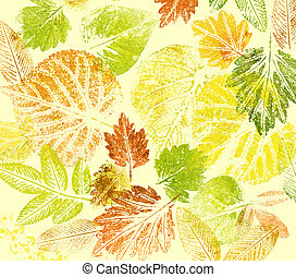 Abstract background, watercolor: leafs - Abstract...