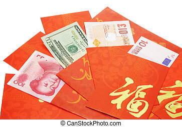 Multi national currency notes in Chinese red packets for...