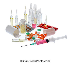 medicine - a lot of colorful pills and ampoules on white...