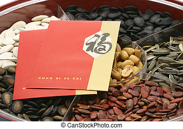 Chinese New Year red packets on snacks tray on white