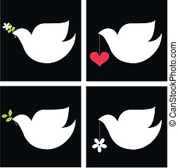 peace doves with different symbols