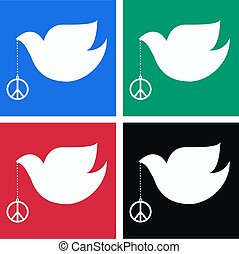 peace dove with four different backgrounds