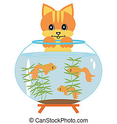 cat with aquarium and fish