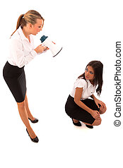 Business Woman Megaphone - business woman in black skirt and...