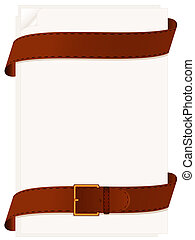 Paper and belt - Two leather belts and paper for notes on a...