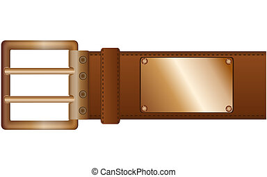 Belt and label - Fashionable belt with a metal plate and...