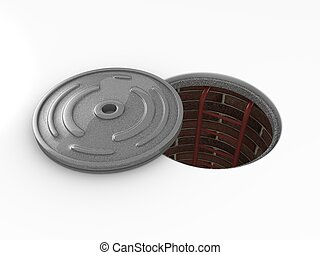 Manhole - 3d rendering, Manhole in-service isolated on white...
