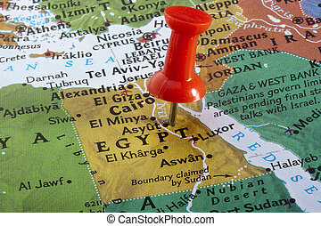 Map of Egypt - Country of Egypt pinned on a world map.