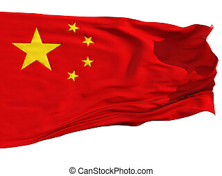 Flag of China, fluttered in the wind Sewn from pieces of...