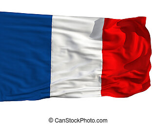 Flag of France, fluttered in the wind Sewn from pieces of...