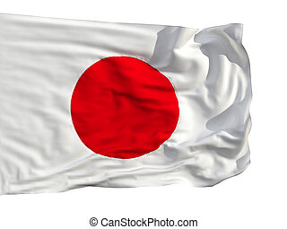 Flag of Japan, fluttered in the wind. Sewn from pieces of...