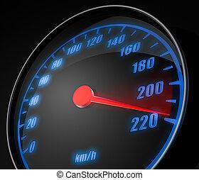 speedometer - 3d illustartion of abstract car speedometer