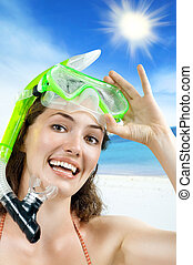 snorkel - beautiful girl with snorkel on white background