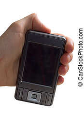 Hand Holding A Mobile Phone - hand holding a mobile phone -...
