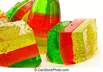 jelly tricolor - jelly colorful closeup on white background