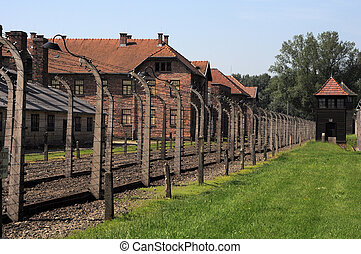Oswiecim - wired fences of concentration camp Auschwitz in...