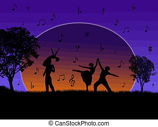Couples dancing - Couples silhouette dancing on a beautiful...