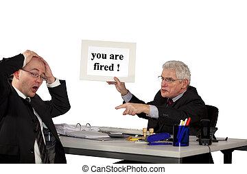 manager firing employee - A senior manager firing his...