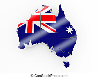 Map of Australia in Australian flag colors 3d