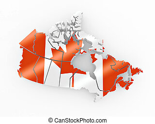 Map of Canada in Canadian flag colors. 3d