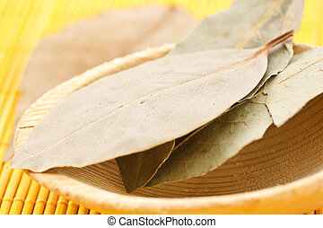 bay leaf on a wooden spoon