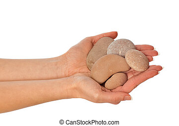 stones - woman holding stones in the hand
