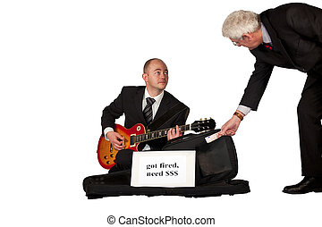 unemployed playing guitar for money - An unemployed man in a...