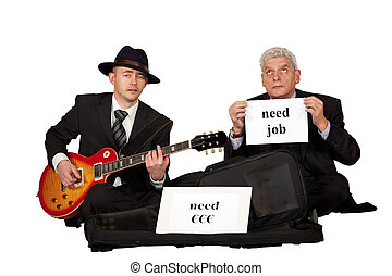 unemployed men begging - Two unemployed men in business...