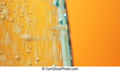 Mineral water air orange bubbles