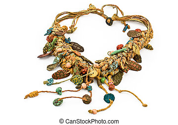 Native Necklace with ropes and ceramic isolated on withe