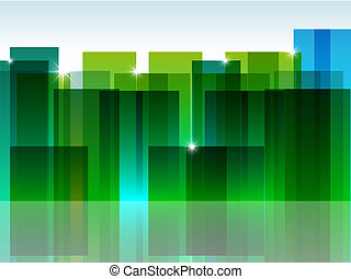 Green town - Vector pictute with green abstract town