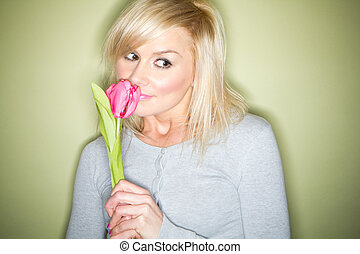 blonde with tulip