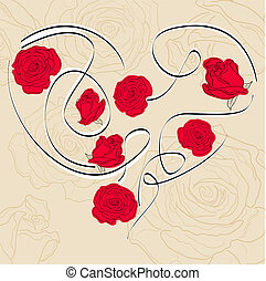 Rose heart - Vector picture with calligraphic heart and...