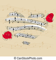 Music heart - Vector picture with music heart and roses