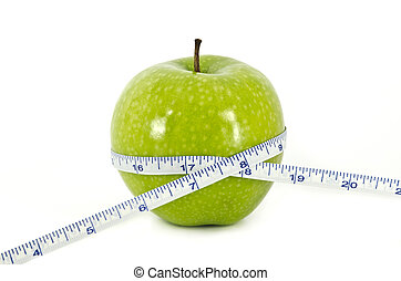 Diet Concept with Apple and Measurement Tape