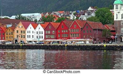 Cityscape of Bryggen in Bergen, Norway