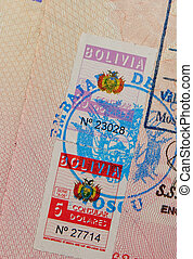 passport with bolivian visa and stamps