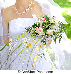 Wedding bouquet - Beautiful white wedding bouquet in hands...