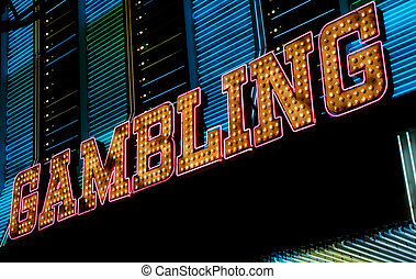 Gambling neon sign, Las Vegas